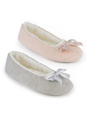 Soft Jersey Slipper With Bow